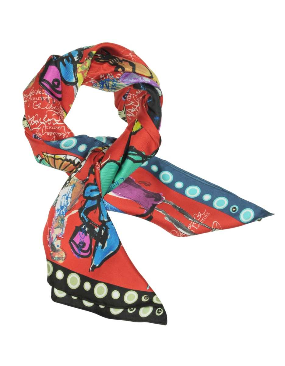 Christian Lacroix  Scarves Croquis Printed Silk Scarf Red USA - GOOFASH - Womens SCARFS