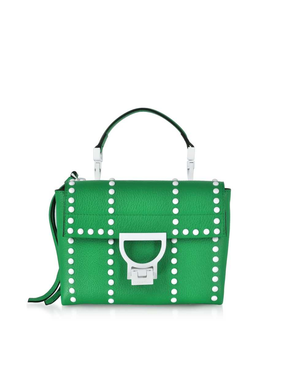 Coccinelle  Handbags Arlettis Mini Special Studs Leather Shoulder Bag Green USA - GOOFASH - Womens BAGS