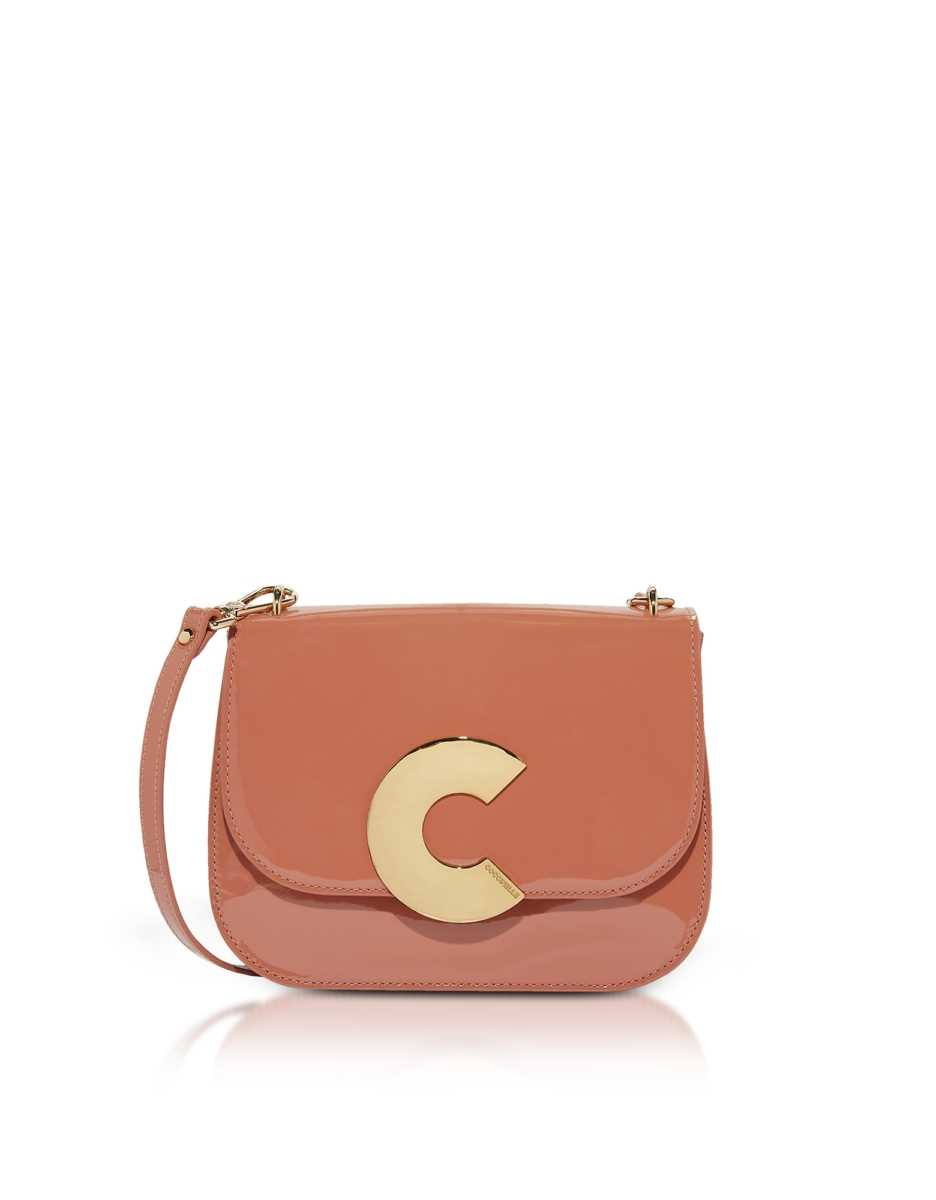 Coccinelle  Handbags Craquante Rock Medium Patent Leather Shoulder Bag Clay USA - GOOFASH - Womens BAGS
