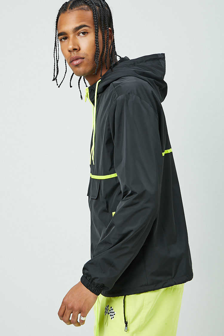Contrast-Trim Hooded Anorak at Forever 21