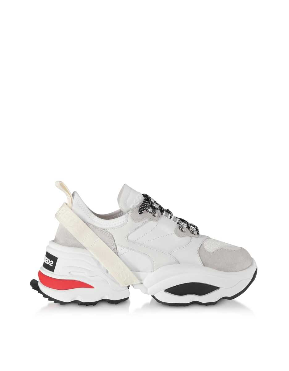DSquared2  Shoes Giant K2 Mesh Neoprene and Leather Women's Sneakers White USA - GOOFASH - Womens SNEAKER