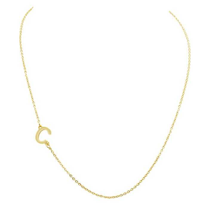 Dainty C Initial Sideways Necklace in Gold Overlay
