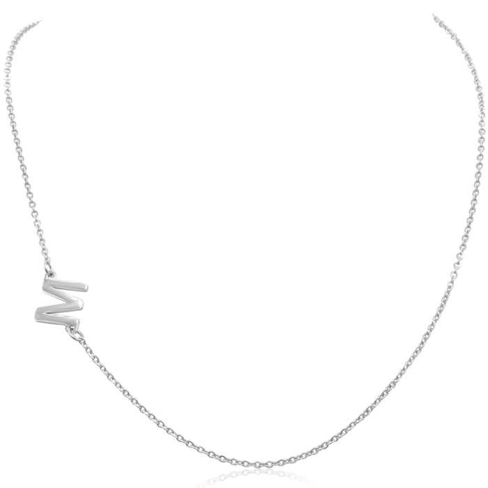 Dainty W Initial Sideways Necklace in Gold Overlay
