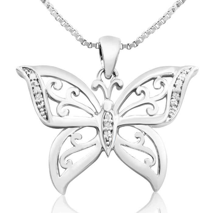 Diamond Accent Butterfly Necklace