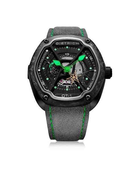 Dietrich Men's Watches OT-1 316L Steel And Forged Carbon Men's Watch w/Green Luminova and Gray Suede Strap Dark Gray USA - GOOFASH - Mens WATCHES
