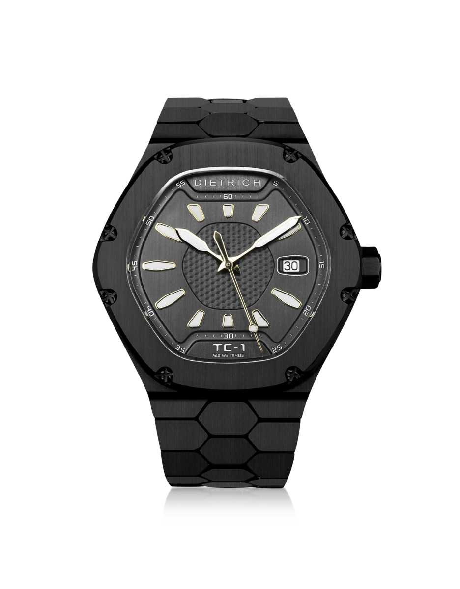 Dietrich  Men's Watches TC-1 Black PVD Stainless Steel w/White Luminova and Gray Dial Gray USA - GOOFASH - Mens WATCHES