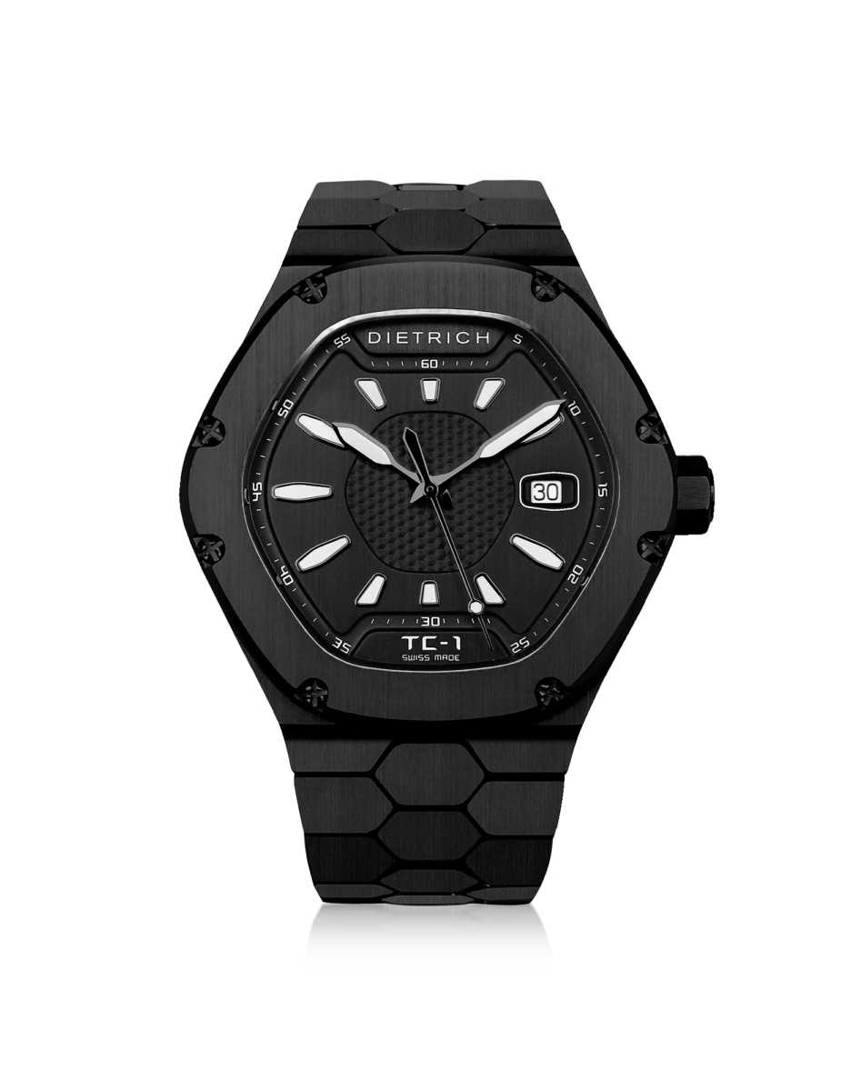 Dietrich Men's Watches TC-1 PVD Stainless Steel w/White Luminova and Black Dial Black USA - GOOFASH - Mens WATCHES