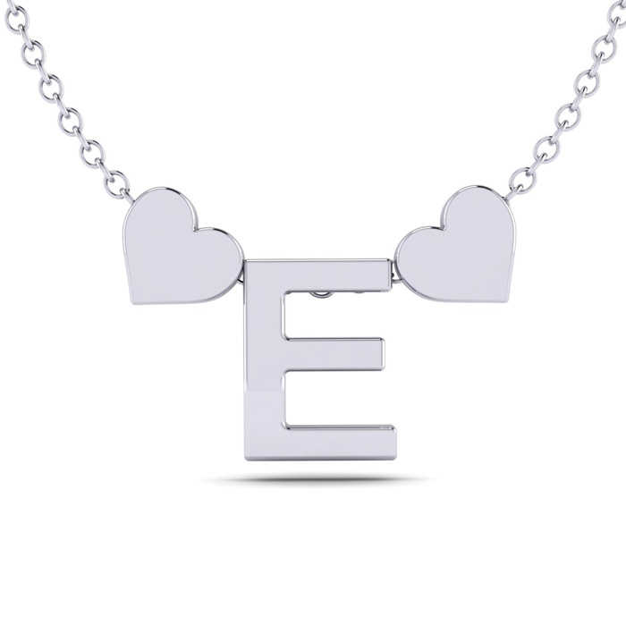 """""""E"""" Dainty Block Initial Necklace w/ Hearts in White Gold Overlay"""
