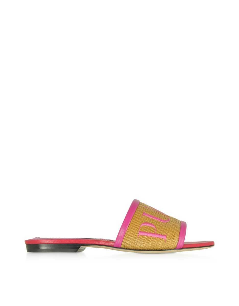 Emilio Pucci  Shoes Raffia & Leather Slipper w/Embroidered Logo Pink USA - GOOFASH - Womens SLIPPERS