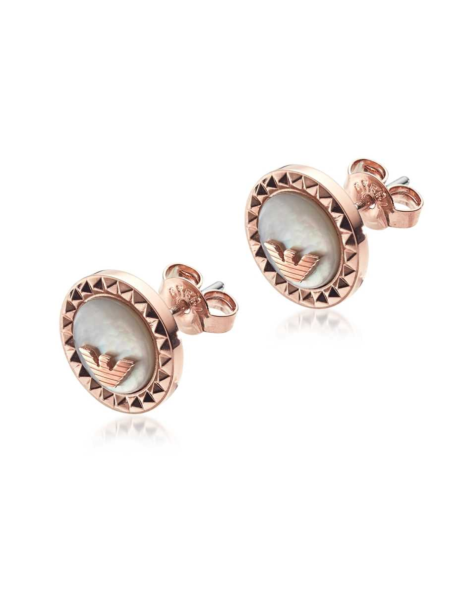 Emporio Armani  Earrings Signature Rose Gold PVD Stainless Steel Earrings Rose Gold USA - GOOFASH - Womens T-SHIRTS