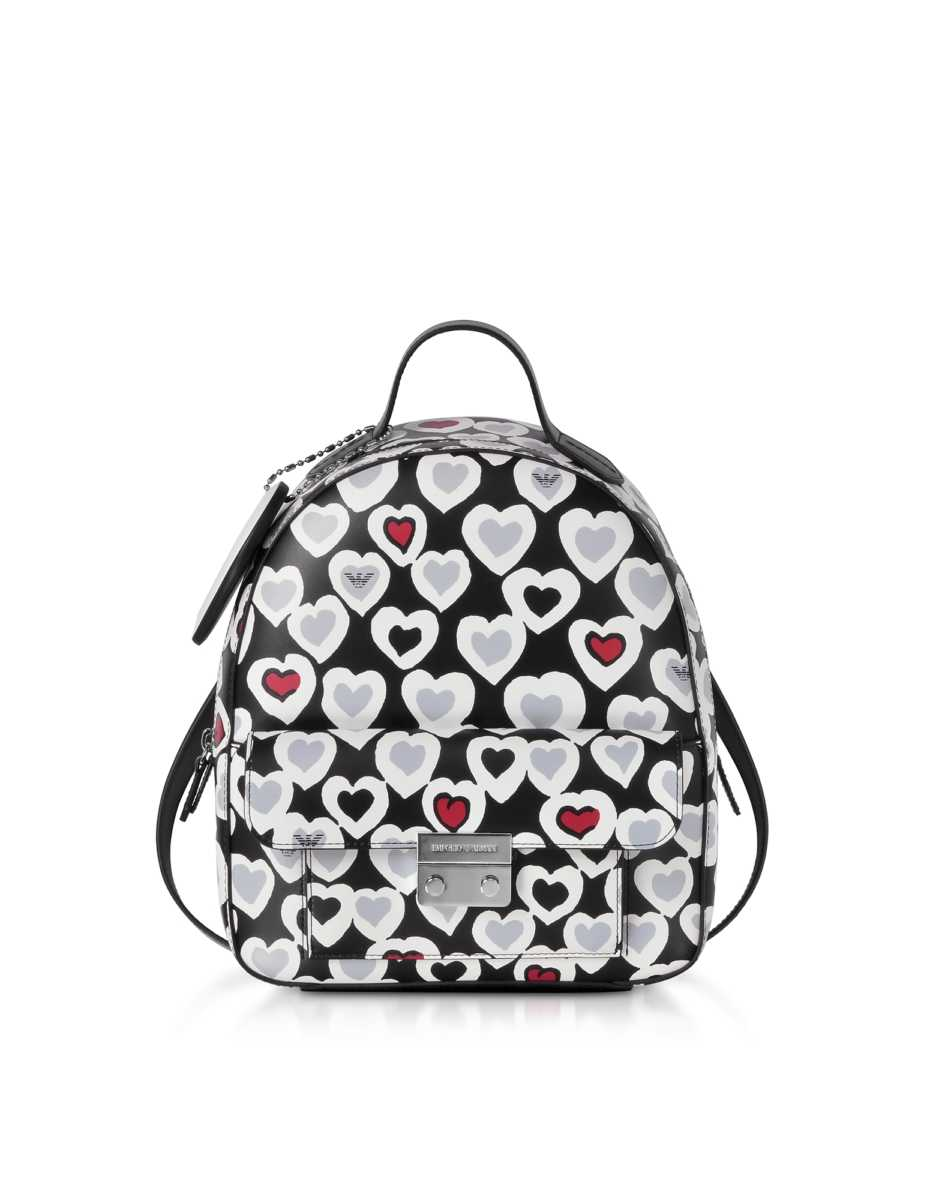 Emporio Armani  Handbags Heart Print Medium Backpack Black USA - GOOFASH - Womens BAGS