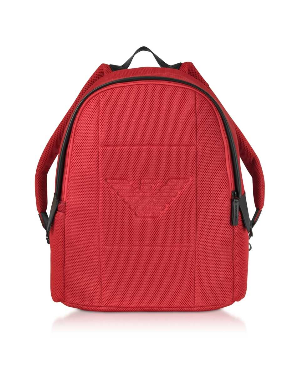 Emporio Armani  Men's Bags Two-tone Backpack w/ Side Pockets Red USA - GOOFASH - Mens BAGS
