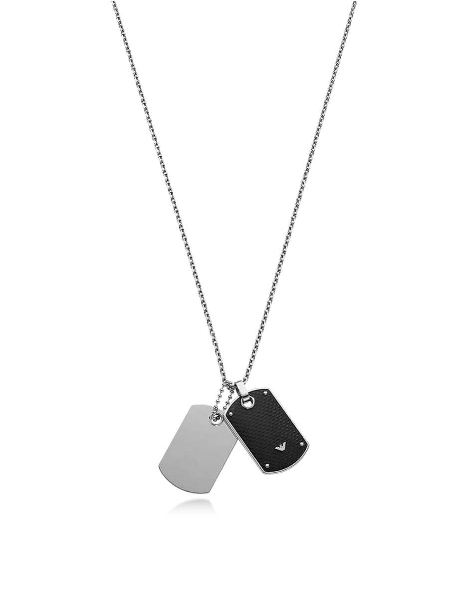 Emporio Armani  Men's Necklaces Iconic Stainless Steel And Carbon Fiber Print Men's Necklace Silver USA - GOOFASH - Mens JEWELRY