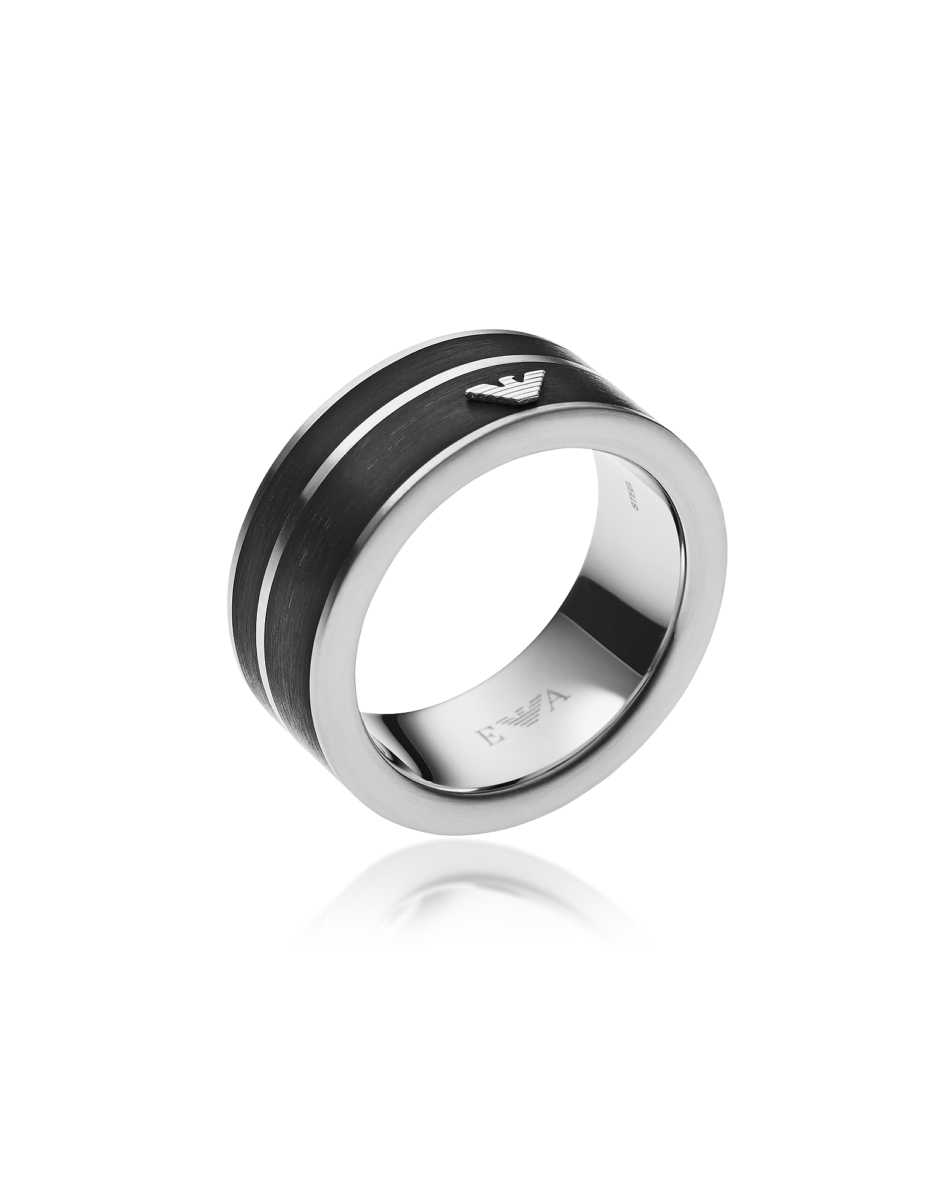 Emporio Armani  Men's Rings Black Stainless Steel Signature Men's Ring Silver USA - GOOFASH - Mens JEWELRY