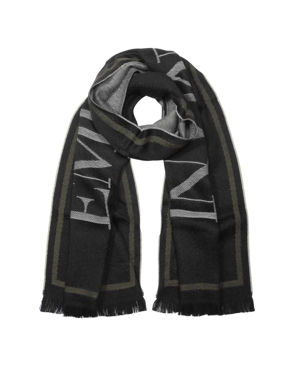 Emporio Armani  Men's Scarves Black Woven Signature Wool Blend Men's Scarf Black USA - GOOFASH - Mens SCARFS