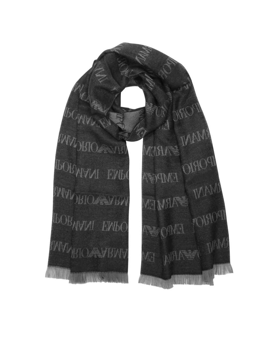 Emporio Armani  Men's Scarves Pacific Wool Blend Signature Men's Scarf Gray USA - GOOFASH - Mens SCARFS