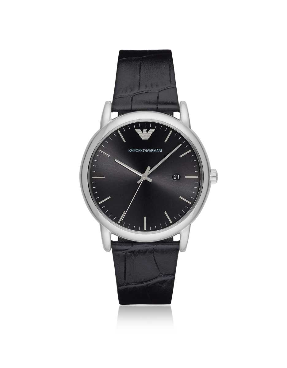 Emporio Armani  Men's Watches Luigi Stainless Steel and Croco Embossed Leather Men's Watch Silver USA - GOOFASH - Mens WATCHES