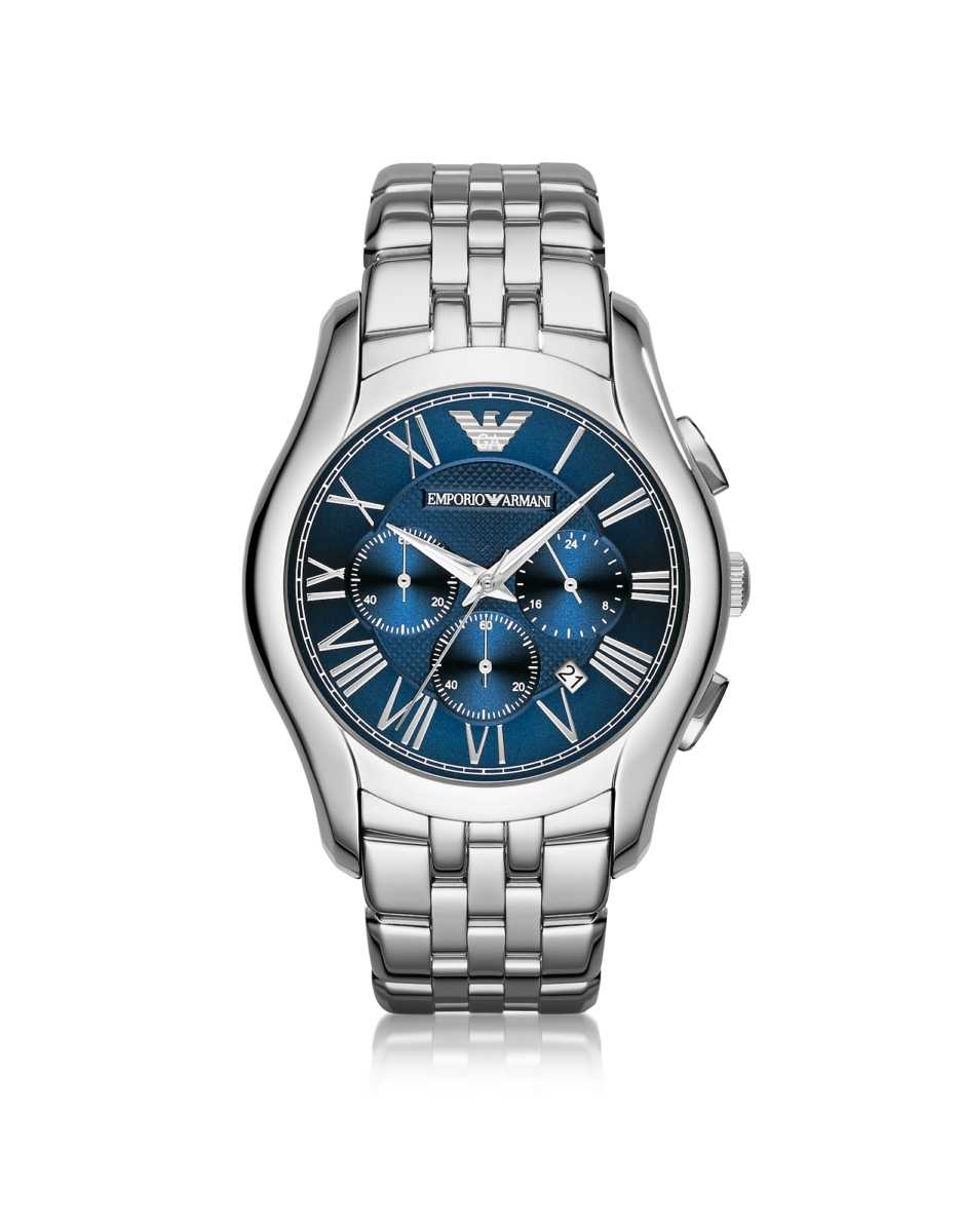 Emporio Armani  Men's Watches New Valente Silver Tone Stainless Steel Men's Watch Silver USA - GOOFASH - Mens WATCHES