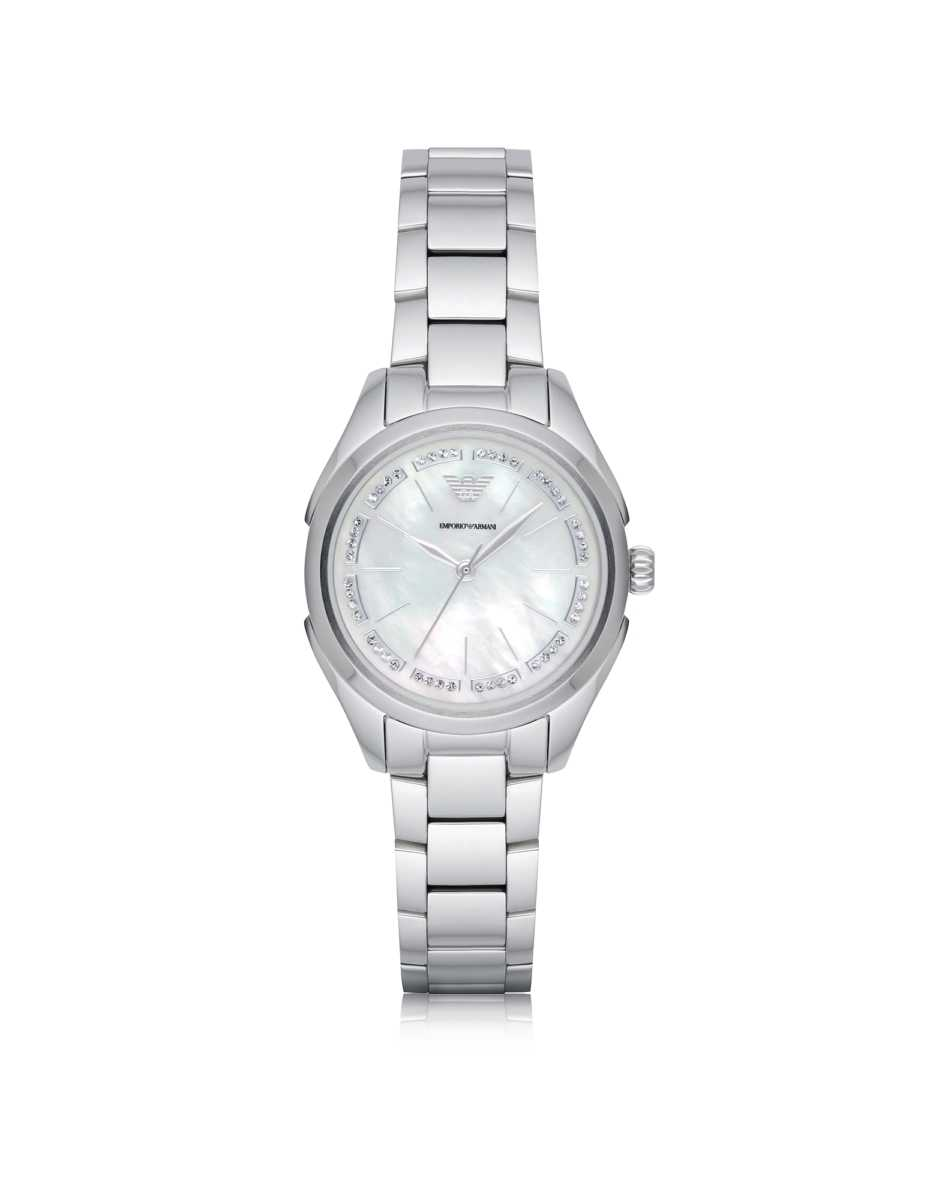 Emporio Armani  Women's Watches Stainless Steel Women's Quartz Watch w/Mother of Pearl Signature Dial Silver USA - GOOFASH - Womens T-SHIRTS
