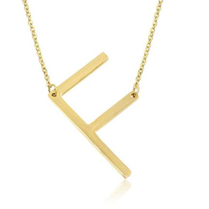 F Initial Sideways Necklace in Gold Overlay