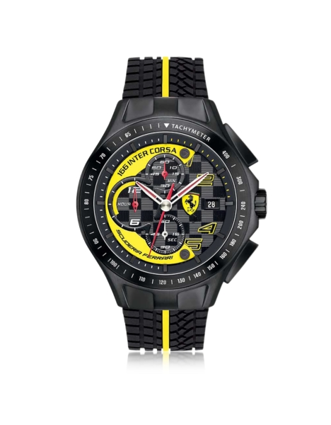 Ferrari Men's Watches Race Day Black and Yellow Stainless Steel Case and Silicone Strap Men's Chrono Watch Black USA - GOOFASH - Mens WATCHES
