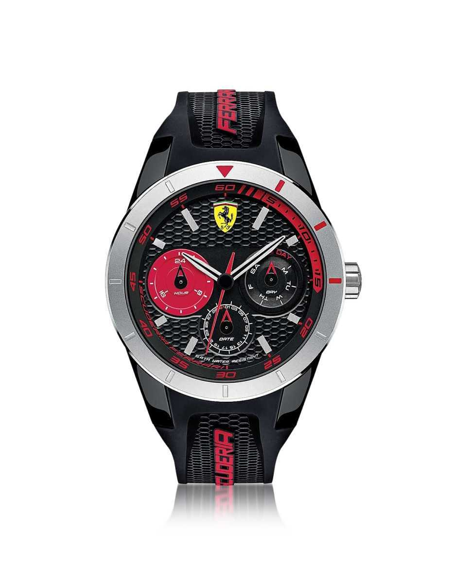 Ferrari  Men's Watches Red Rev T Silver Tone Stainless Steel Case and Black Silicone Strap Men's Watch Black USA - GOOFASH - Mens WATCHES