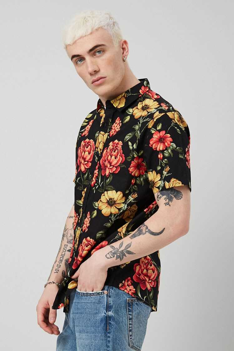 Floral Print Fitted Shirt at Forever 21