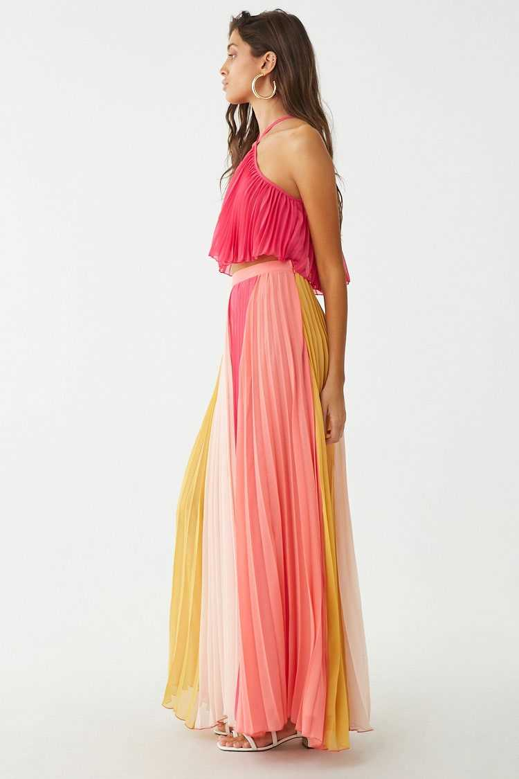 Forever 21 Accordion Pleat Crop Top & Maxi Skirt Set