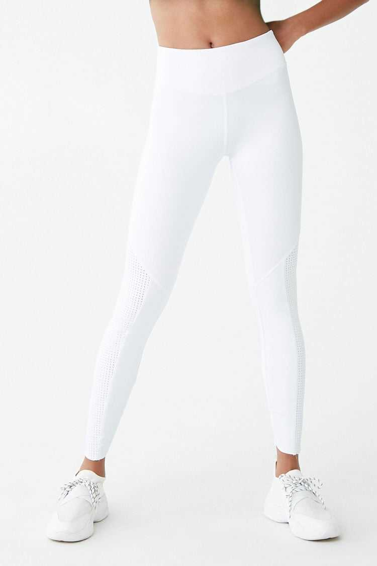 Forever 21 Active Raw-Cut Perforated-Panel Leggings