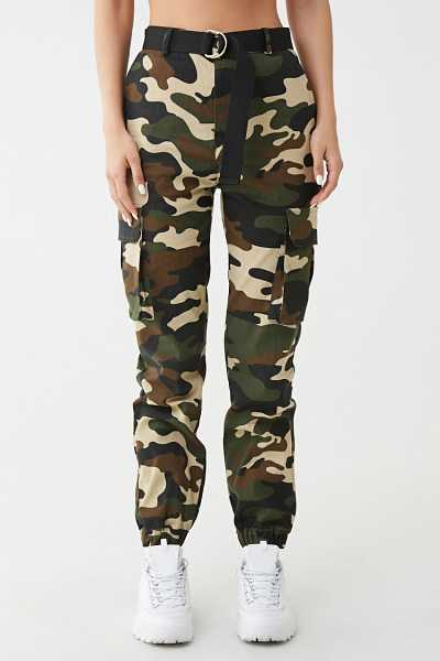 Forever 21 Belted Camo Print Pants