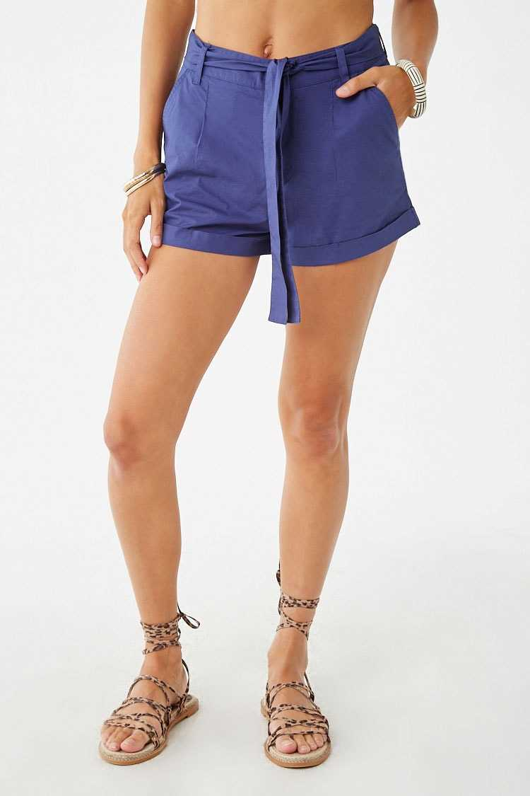 Forever 21 Belted Cuffed Shorts