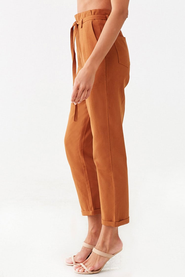 Forever 21 Belted High-Rise Ankle Pants