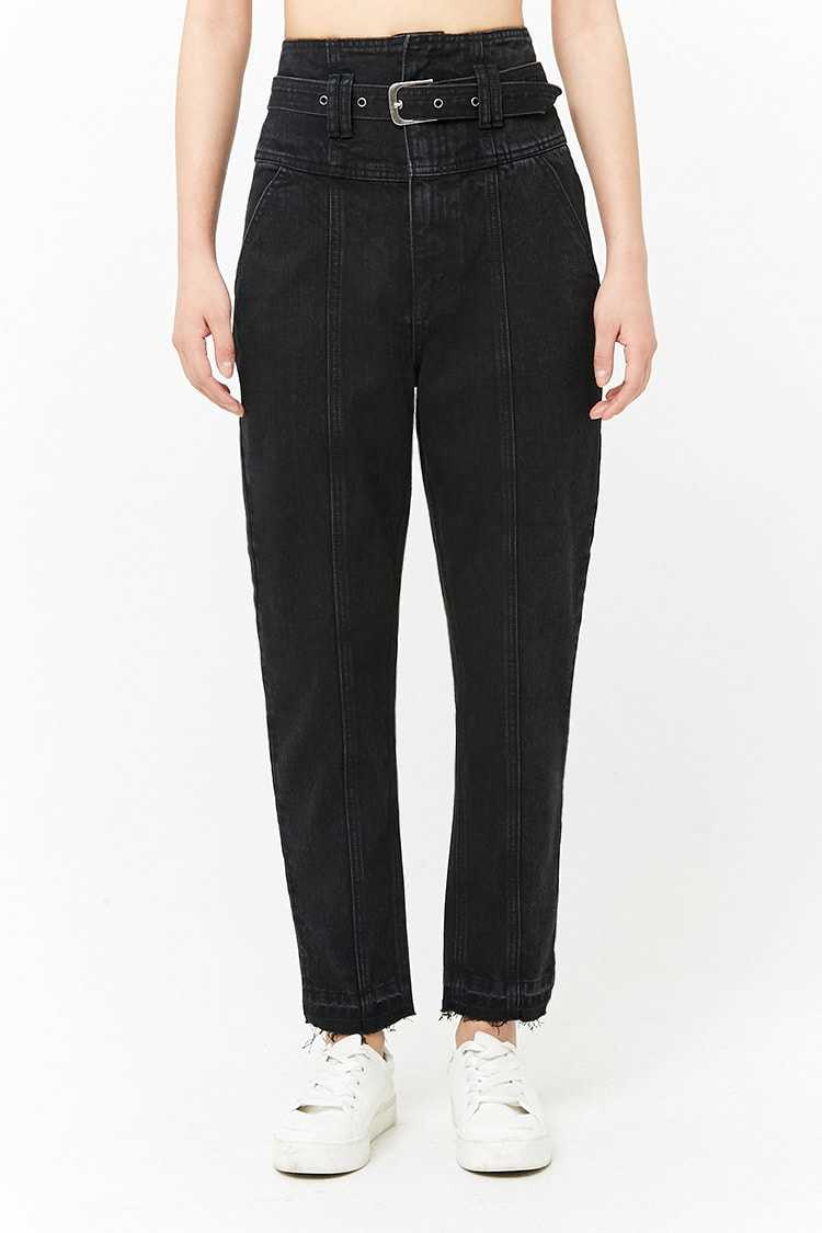 Forever 21 Belted High-Waist Jeans