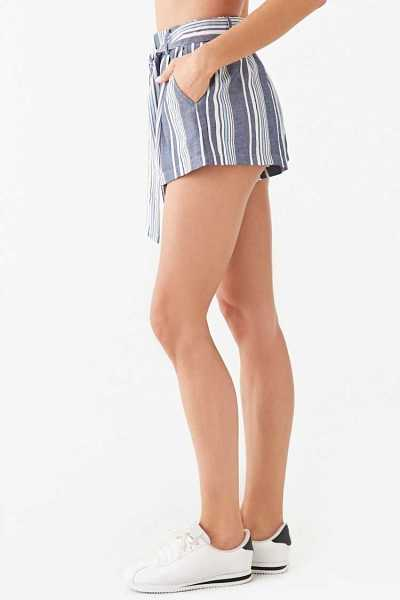 Forever 21 Belted Multicolor Striped Shorts
