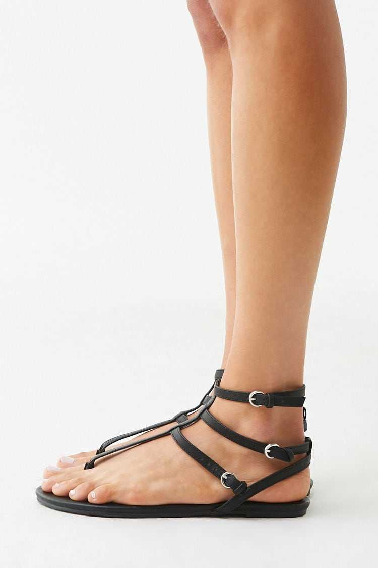 Forever 21 Caged Faux Leather Sandals