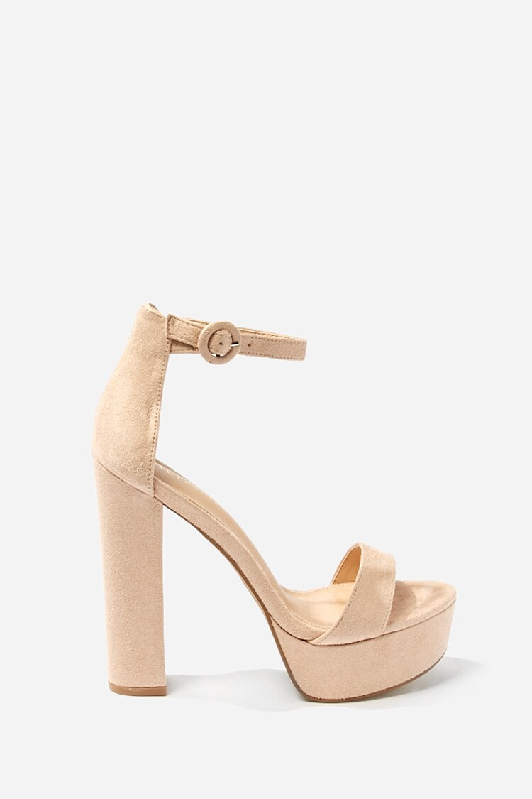 Forever 21 Chunky Faux Suede Heels