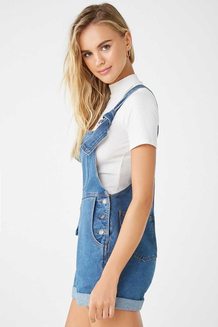 Forever 21 Cuffed Denim Overall Shorts