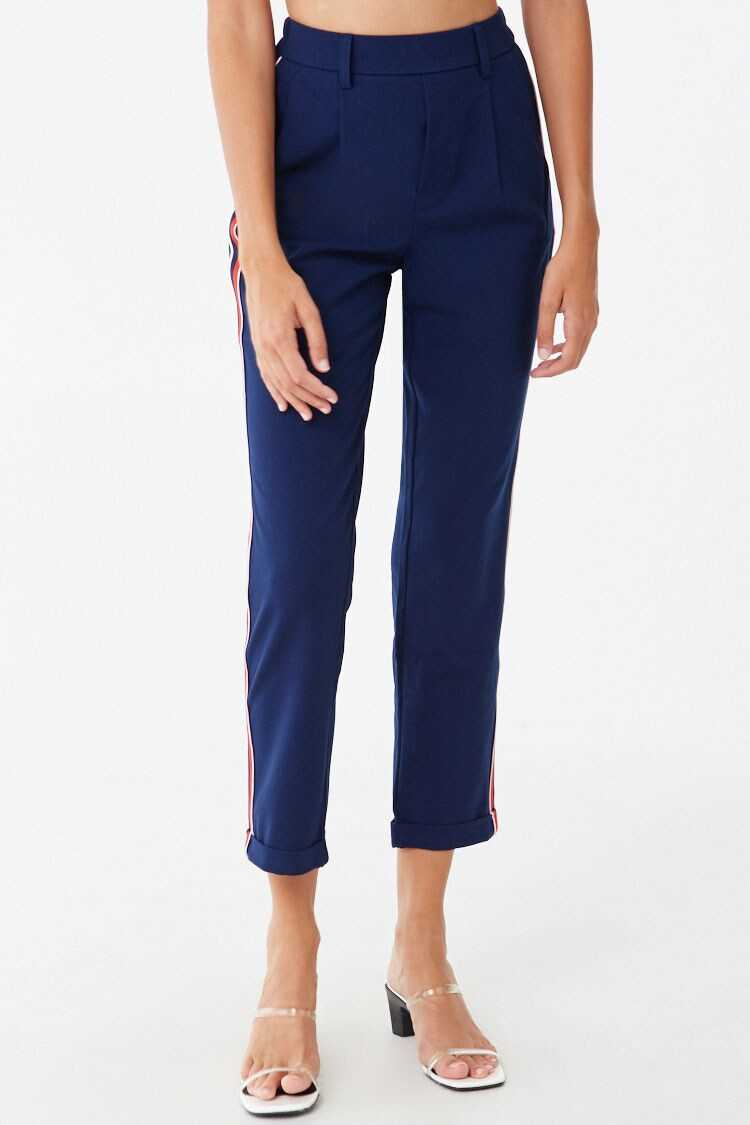 Forever 21 Cuffed Striped-Trim Pants