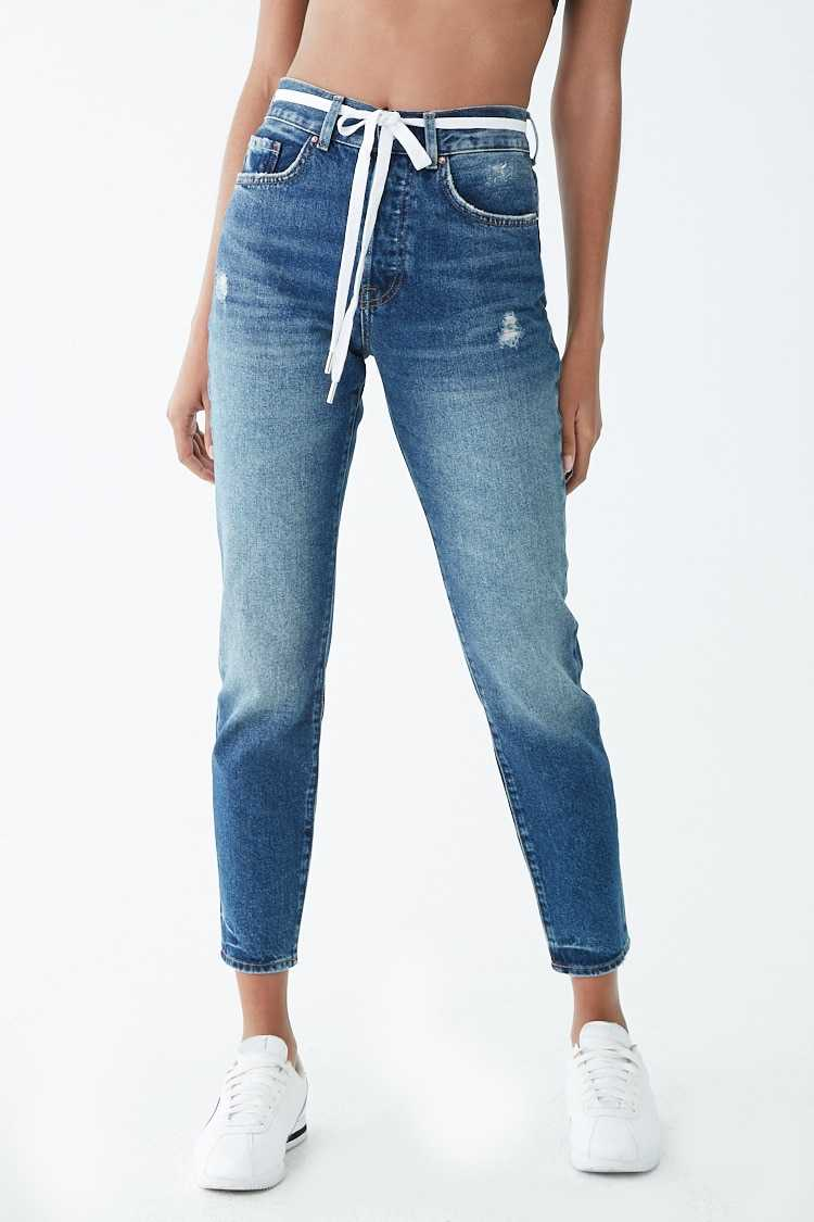 Forever 21 Distressed Belted Skinny Jeans