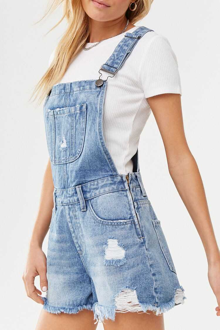Forever 21 Distressed Frayed Overall Shorts
