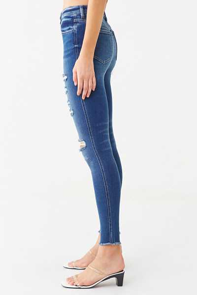 Forever 21 Distressed Frayed Skinny Jeans