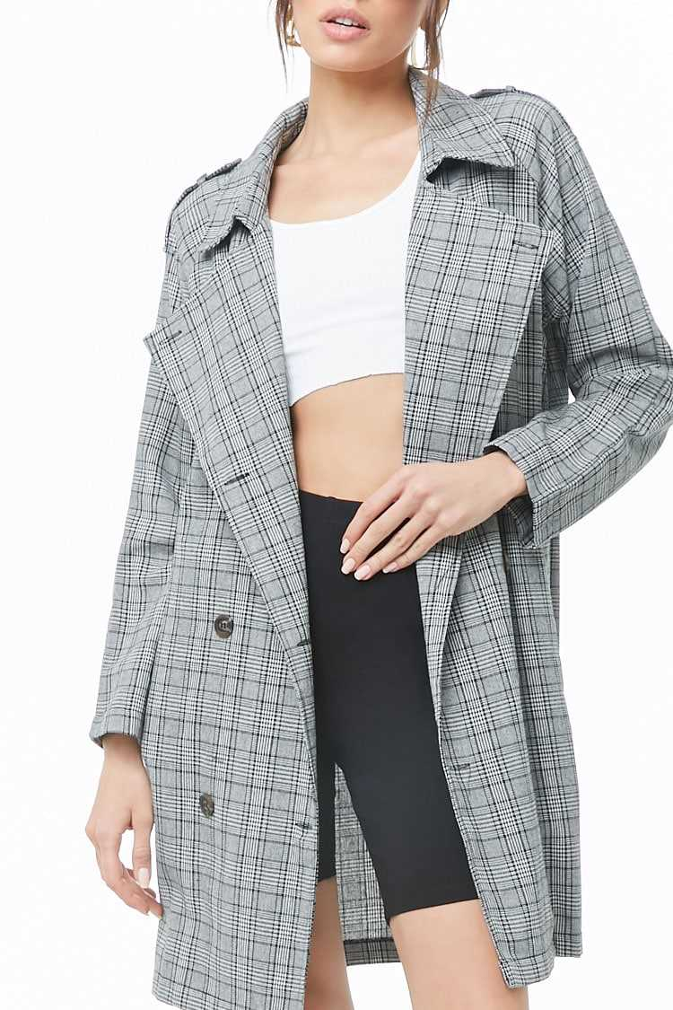 Forever 21 Double Breasted Glen Plaid Jacket