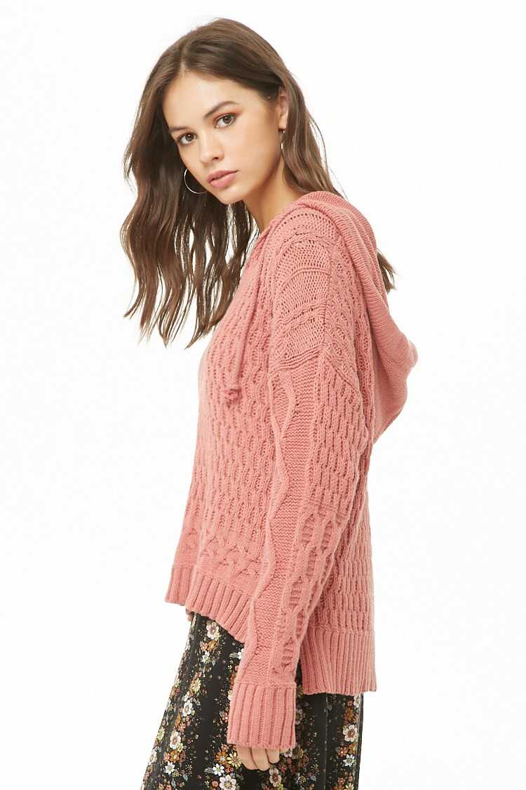 Forever 21 Dropped-Shoulder Hooded Sweater
