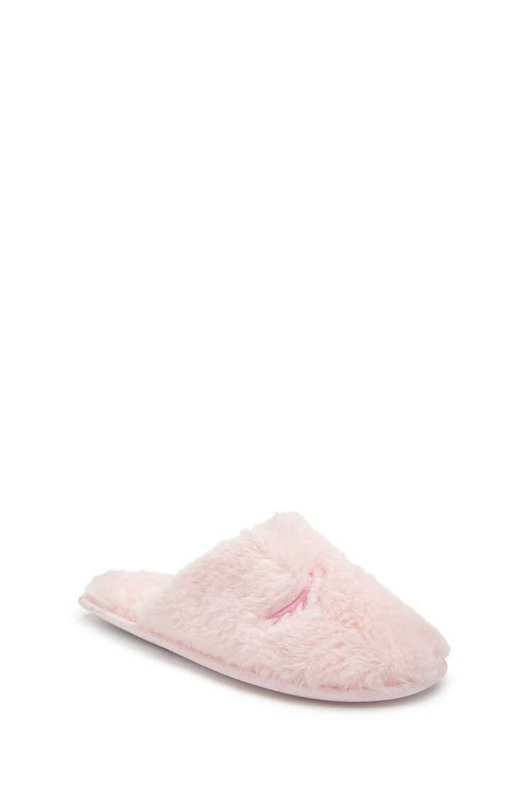 Forever 21 Faux Fur Eyelash-Embroidered Slippers