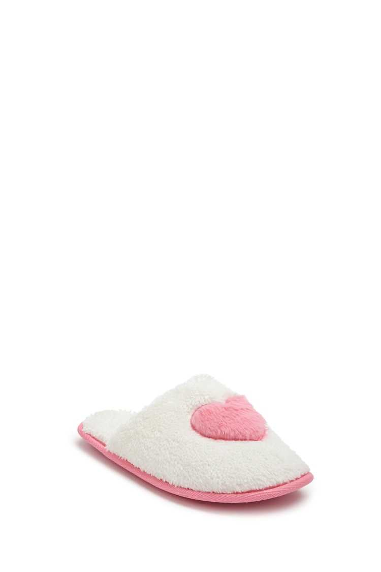 Forever 21 Faux Fur Heart Graphic Slippers
