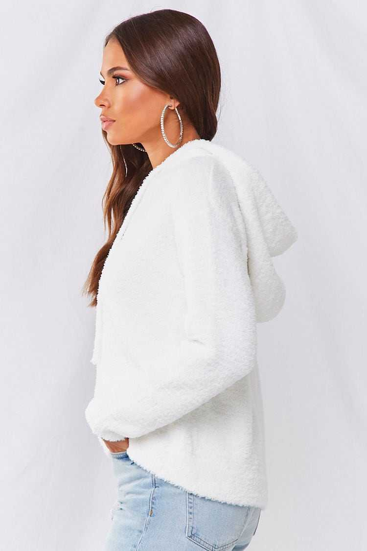 Forever 21 Faux Fur Hooded Pullover