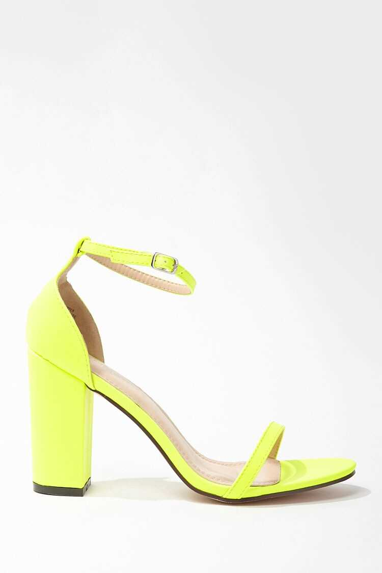 Forever 21 Faux Leather Ankle-Strap Heels