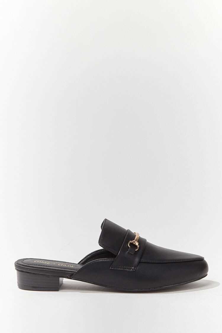 Forever 21 Faux Leather Bar-Accent Mules