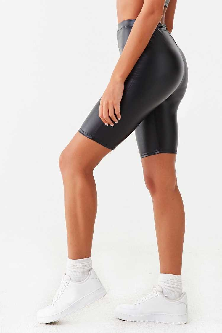 Forever 21 Faux Leather Biker Shorts