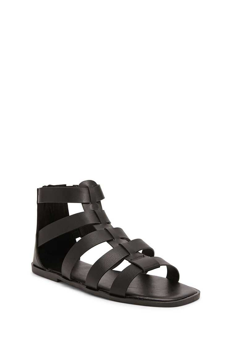 Forever 21 Faux Leather Caged Sandals